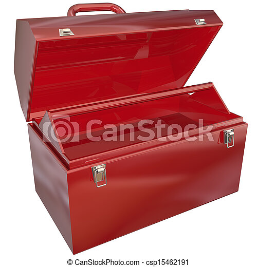 Empty Red Toolbox for Your Copy or Message Blank Copyspace - csp15462191