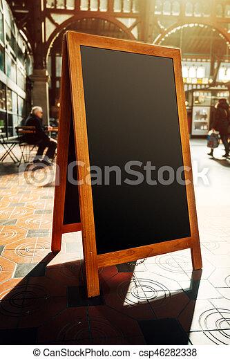 Empty restaurant menu street black chalkboard as copy space - csp46282338