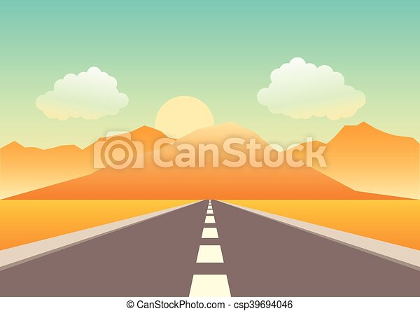 Empty road heading to the mountains - csp39694046