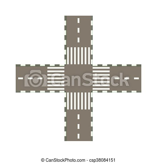 Empty road intersection icon, cartoon style - csp38084151