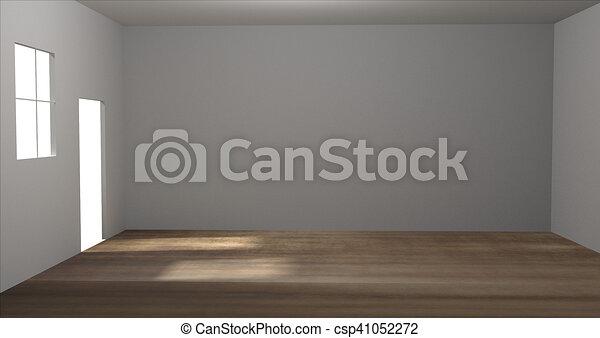 empty room 3D render room - csp41052272