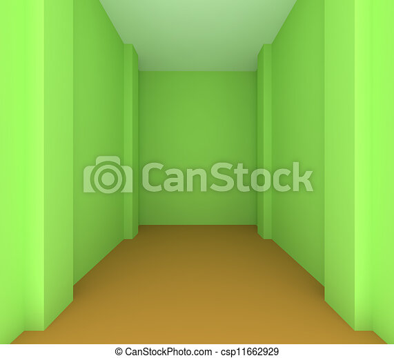 empty room color green wall for renovate csp11662929