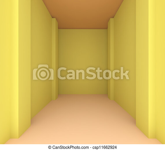 empty room color yellow wall for renovate csp11662924
