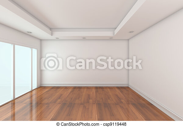 empty room decorated white wall stock