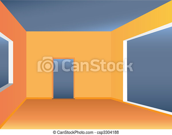 Empty Room Simple Living Space View Color Vector Illustration