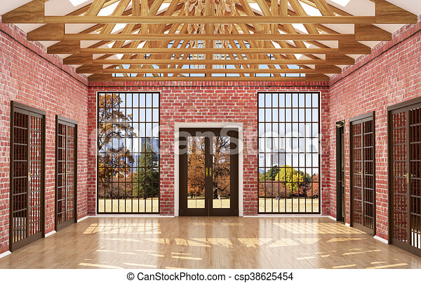 Empty Room In A Loft Style With Red Brick Walls Big Wood Windows And Doors 3d Illustration Canstock