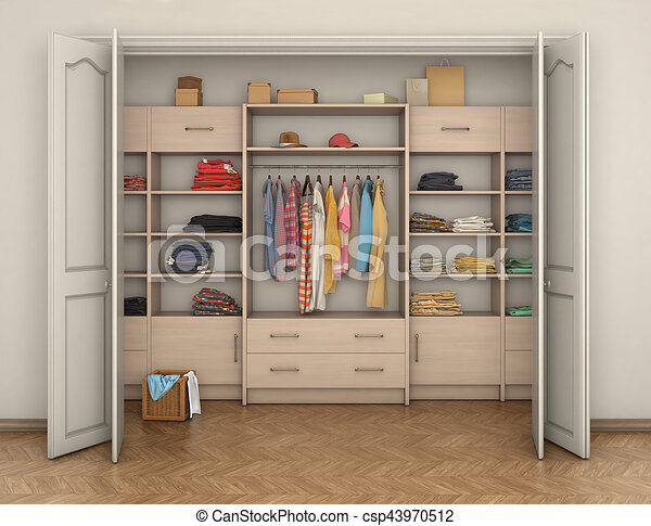 Empty Room Interior And Big Closet With Clothes 3d Illustration