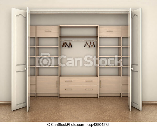 empty room interior and big white empty closet 3d illustration