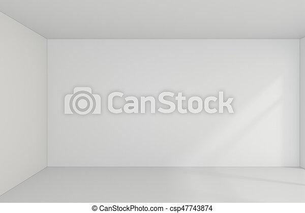Empty room interior white background. 3d rendering - csp47743874