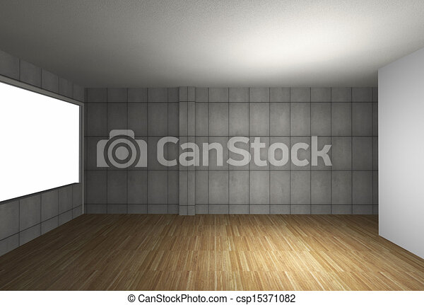Empty room with bare concrete wall and wood floor - csp15371082