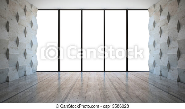 Empty room with concrete wall panels - csp13586028