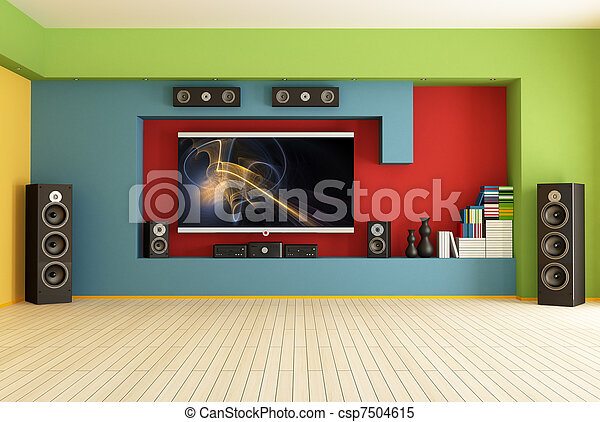 empty room with home theater - csp7504615