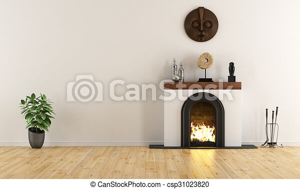 Empty Room With Minimalist Fireplace