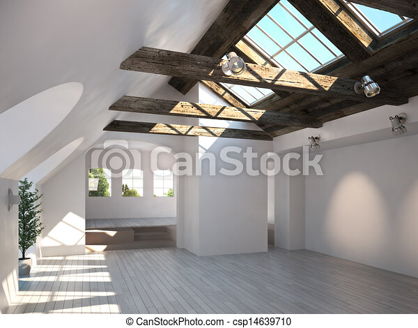 Empty Room With Rustic Timber Ceili