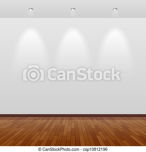 Empty room with white wall and wood - csp10812196