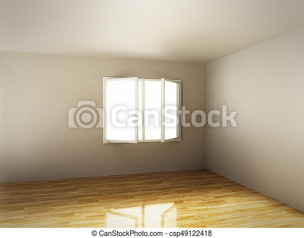 empty room with white walls and hardwood floor 3d