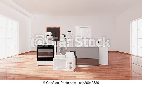 Empty room with window, parquet floor and appliances, room interior  - csp26043536