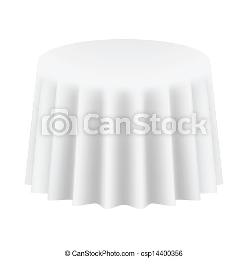 Empty Round Table Cloth. Isolated. Vector Illustration - csp14400356