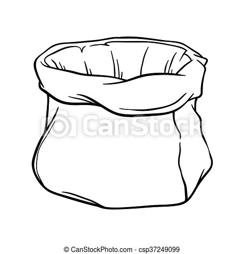 Empty Sack Brush Stroke Outline Vector Stock Of Empty Canvas Sack