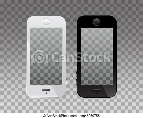 empty screen on phone for mockup transparency background modern