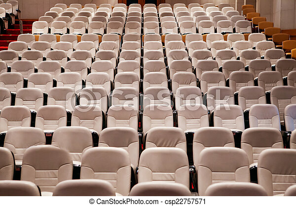 empty seat in conference meeting hall  - csp22757571