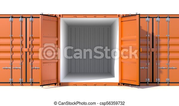 Empty ship cargo container side view 20 feet length