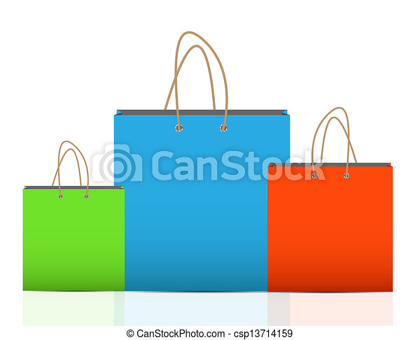 Empty Shopping Bag  for advertising and branding vector illustration - csp13714159