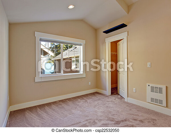 Empty Small Room With Walk In Closet Empty Bedroom In Ivory And
