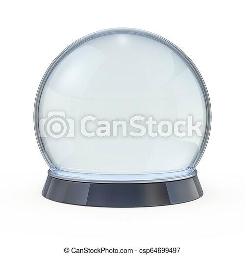 Empty snow globe isolated on white. 3D - csp64699497