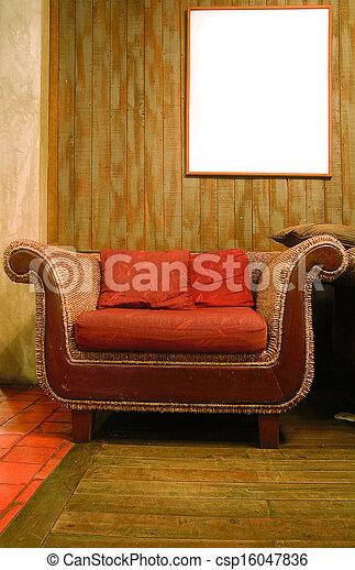 Empty sofa in wooden room - csp16047836