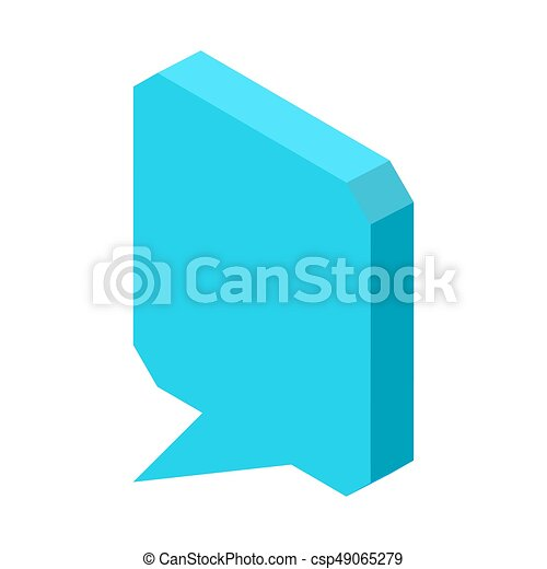 Empty Square Blue Chat Cloud Icon Isolated Illustration Empty