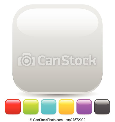 Empty square button or icon backgrounds with glossy effect - csp27572030