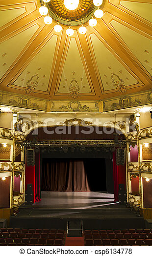Empty Stage Of An Old Theater