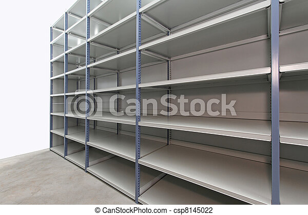 Empty Storage Room Long Empty Metal Shelf In Storage Room