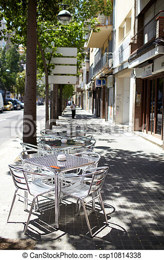 Empty street cafe - csp10814338