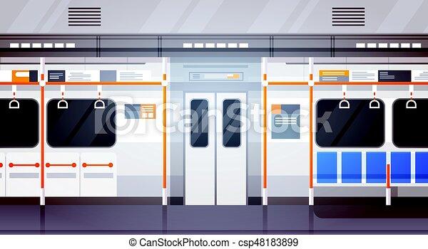 Empty Subway Car Interior Modern City Public Transport, Underground Tram - csp48183899