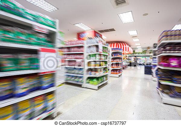 Empty supermarket aisle,motion blur - csp16737797