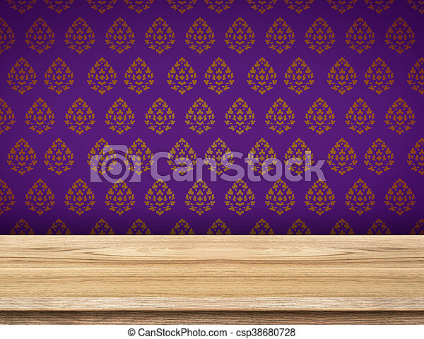 Empty Table Top With Purple Wallpaper With Thai Pattern Wall Template Mock Up For Display Of Product Canstock