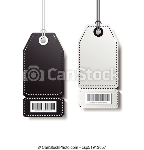 Empty Tags Template Shopping Stickers With Bar Code Isolated On White Background - csp51913857