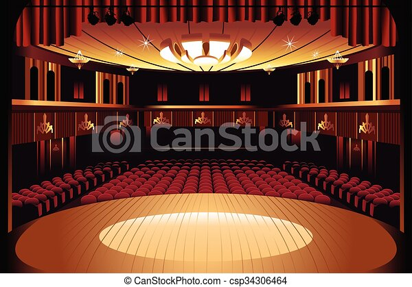 Empty Theater Stage A Vector Illustration Of