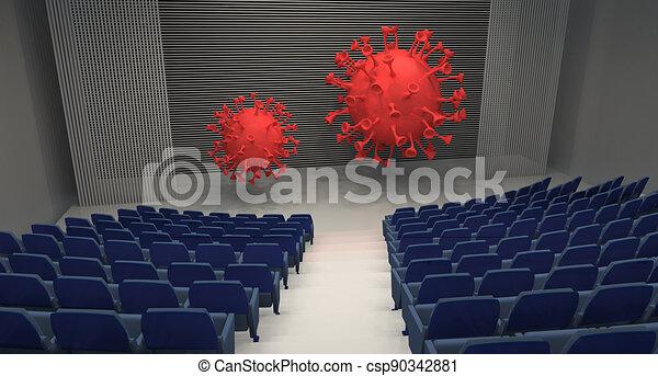 empty theatre with two big coronavirus on stage - csp90342881