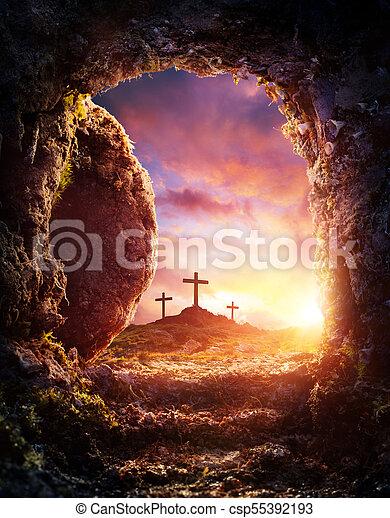 Empty Tomb - Crucifixion And Resurrection Of Jesus Christ - csp55392193
