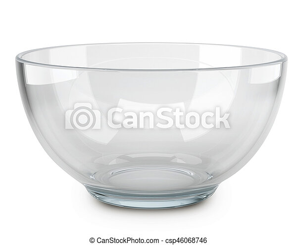 Empty transparent glass cooking bowl. - csp46068746