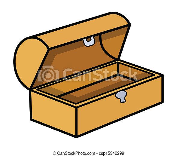 empty treasure box vector drawing art of cartoon vintage old