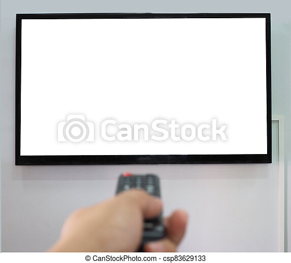 Empty TV screen  and the hand is holding the remote control to change the channel. - csp83629133