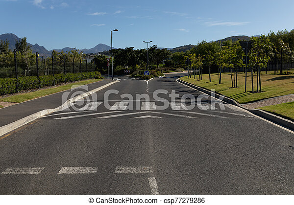 Empty two-way asphalt road - csp77279286