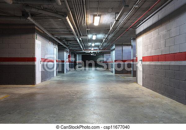 Empty underground garage in a residential building - csp11677040