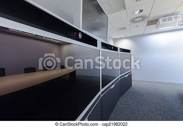 Empty Video Conference Room with blank screen - csp21982022