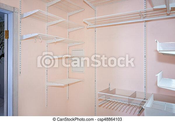 empty walk in closet. Empty Walk-in Closet With Shelves. Dressing Room Interior Elements. -  Csp48864103 Empty Walk In A