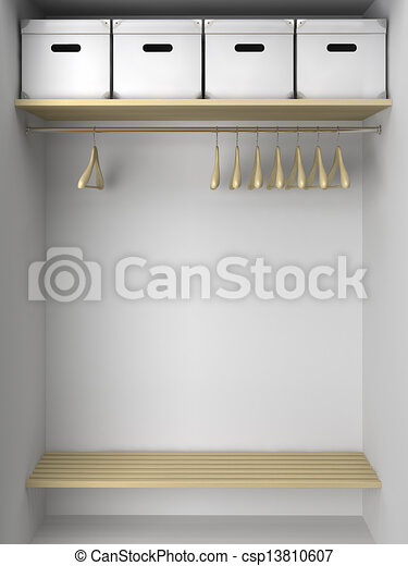 Empty Wardrobe With Hangers And Boxes Stock Illustration